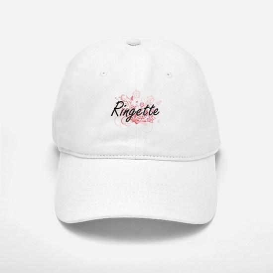 Ringette Artistic Design with Flowers Baseball Baseball Cap