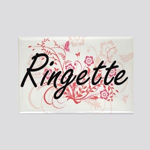 Ringette Artistic Design with Flowers Magnets