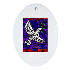 Dove Oval Ornament