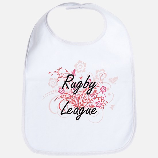 Rugby League Artistic Design with Flowers Bib