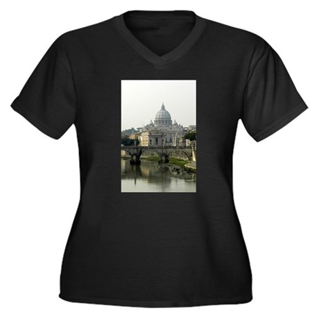 Vatican City Women's Plus Size V-Neck Dark T-Shirt