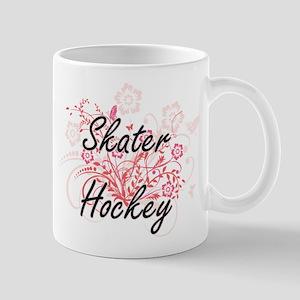 Skater Hockey Artistic Design with Flowers Mugs