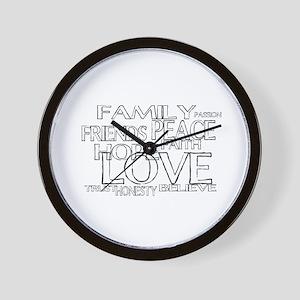FAITH LOVE FAMILY FRIENDS Wall Clock