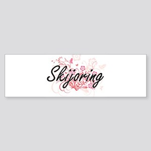 Skijoring Artistic Design with Flow Bumper Sticker