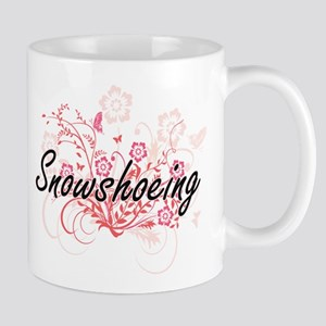 Snowshoeing Artistic Design with Flowers Mugs