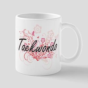 Taekwondo Artistic Design with Flowers Mugs