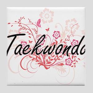 Taekwondo Artistic Design with Flower Tile Coaster