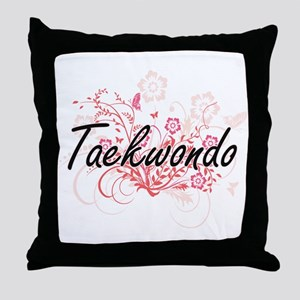 Taekwondo Artistic Design with Flower Throw Pillow