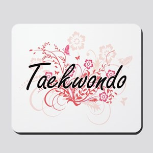 Taekwondo Artistic Design with Flowers Mousepad