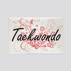 Taekwondo Artistic Design with Flowers Magnets