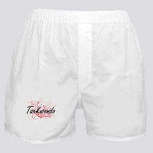 Taekwondo Artistic Design with Flower Boxer Shorts