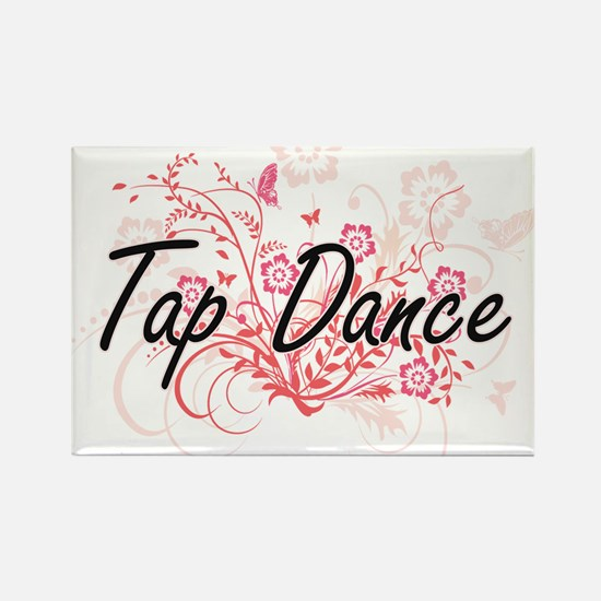 Tap Dance Artistic Design with Flowers Magnets