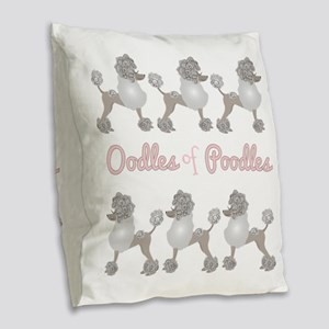 Oodles Of Poodles Burlap Throw Pillow