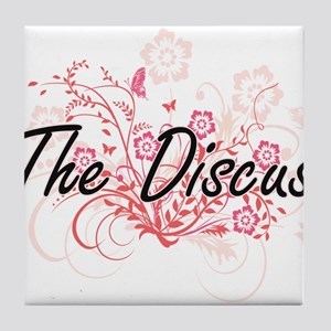 The Discus Artistic Design with Flowe Tile Coaster