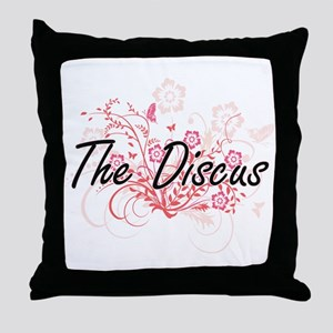 The Discus Artistic Design with Flowe Throw Pillow
