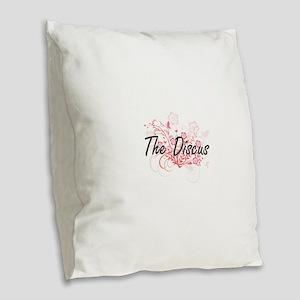 The Discus Artistic Design wit Burlap Throw Pillow