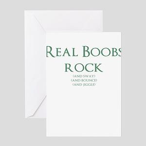 Real Boobs Rock Greeting Card