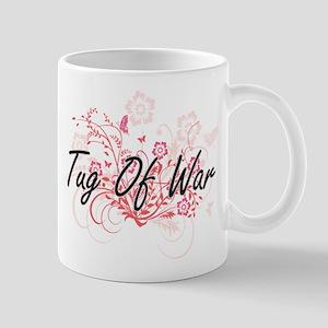 Tug Of War Artistic Design with Flowers Mugs