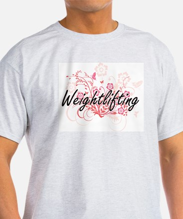 Weightlifting Artistic Design with Flowers T-Shirt
