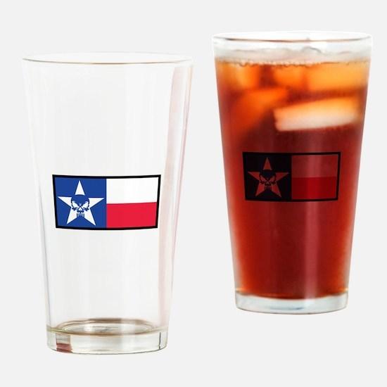 Texas Skull Flag Drinking Glass