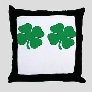 shamrock boobs Throw Pillow