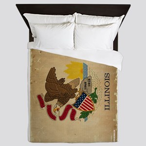 Illinois State Flag VINTAGE Queen Duvet