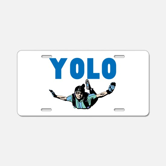 Yolo Sky Diving Aluminum License Plate
