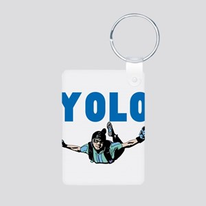Yolo Sky Diving Aluminum Photo Keychain