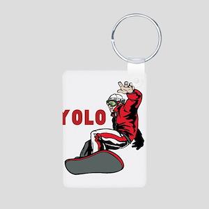 Yolo Snowboarding Aluminum Photo Keychain