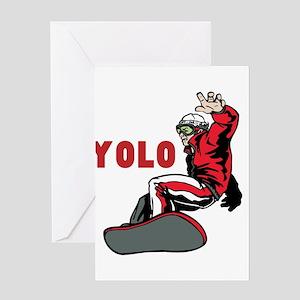 Yolo Snowboarding Greeting Card