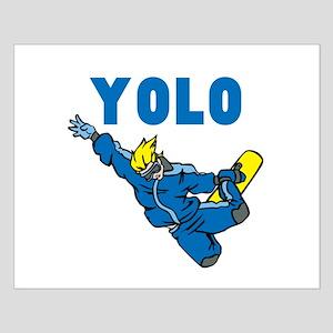 Yolo Snow Boarding Small Poster
