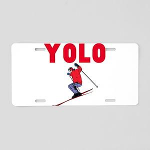 Yolo Skiing Aluminum License Plate