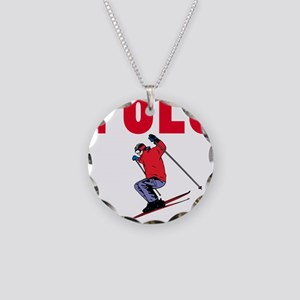 Yolo Skiing Necklace Circle Charm