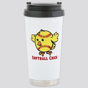 Softball Chick 16 oz Stainless Steel Travel Mug