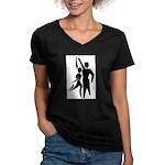 Latin Dancers Women's V-Neck Dark T-Shirt