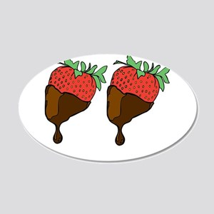 strawberry boobs 20x12 Oval Wall Decal