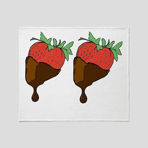 strawberry boobs Throw Blanket
