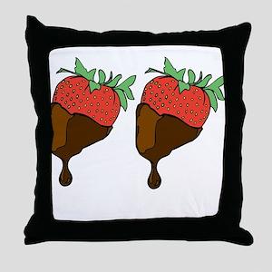 strawberry boobs Throw Pillow