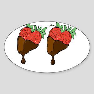 strawberry boobs Sticker (Oval)