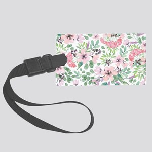Pink flowers pattern watercolors Large Luggage Tag