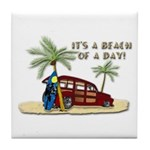 It's A Beach Of A Day! Tile Coaster