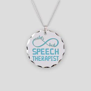 Worlds Best Speech Therapist Necklace Circle Charm