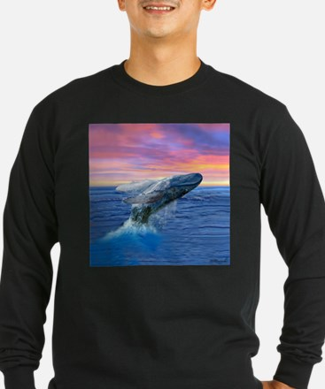 Humpback Whale Breaching at Sunset Long Sleeve T-S