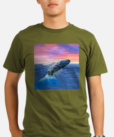 Humpback Whale Breaching at Sunset T-Shirt