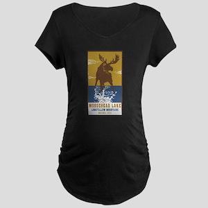 Moosehead Lake Maine Moose Maternity T-Shirt