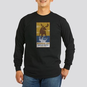 Moosehead Lake Maine Moose Long Sleeve T-Shirt