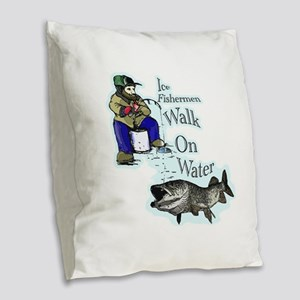 Ice fishing muskie Burlap Throw Pillow