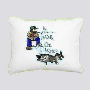 Ice fishing muskie Rectangular Canvas Pillow