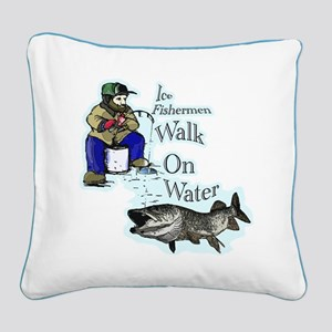 Ice fishing muskie Square Canvas Pillow