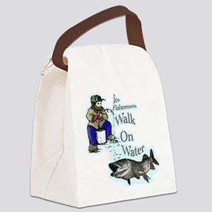 Ice fishing muskie Canvas Lunch Bag